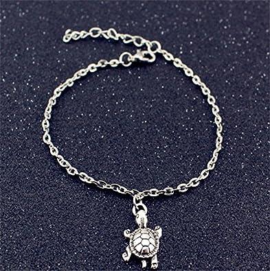 AIUIN Bracelet de Cheville Femmes Filles en Argent Corde de Cire r/étro Forme de Tortue Mignonne cha/îne Bracelet de Cheville Pieds Nus Bijoux de Plage 1pcs 20cm