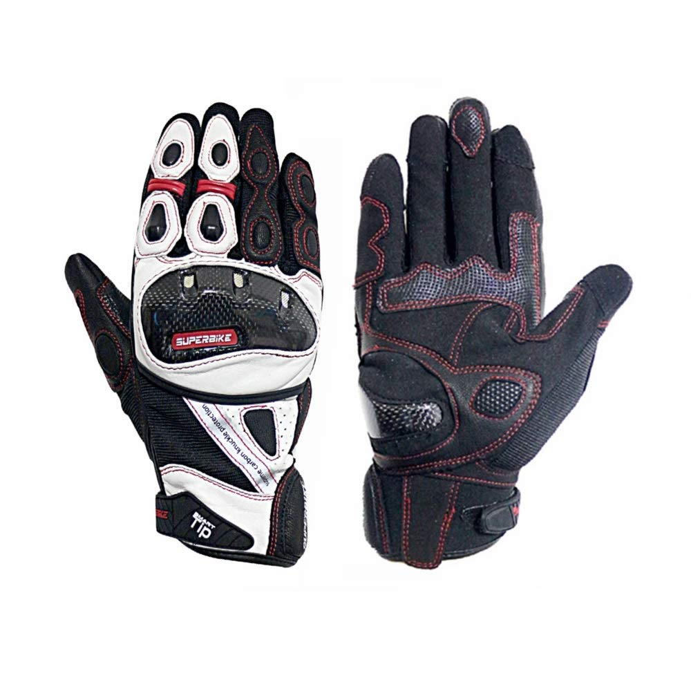 Full finger Leather Motorcycle Gloves Carbon Fiber Knuckle Armored White Motorbike Gloves With Reflective Tips For Men(G09-Short-White, L)