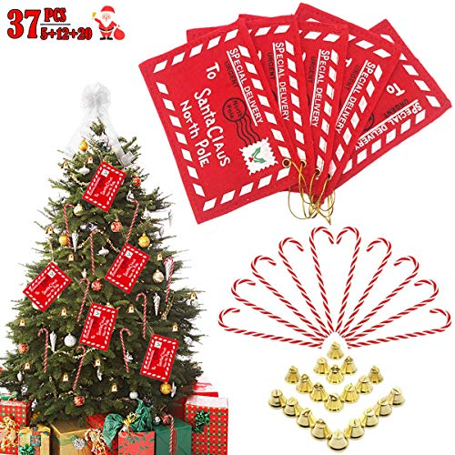 - Christmas Envelopes Tree Ornaments Kit - 5 Pcs Embroidered Red Letter Envelope Gift Money Card Holder to Santa Claus, 12 Candy Cane Hanging Decor & 12 Mini Gold Bells for Christmas Home Party Favors