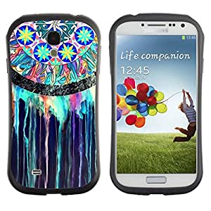 Fuerte Suave TPU GEL Caso Carcasa de Protección Funda para Samsung Galaxy S4 I9500 / Business Style Dream Catcher Indian Stained Glass Watercolor