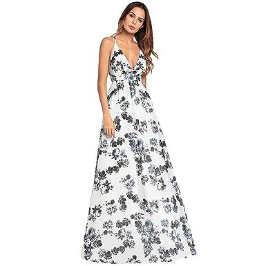 5357e6dd1856 Haogo Womens Sexy Sleeveless Floral Print Beach Party Long Maxi Dress White  Medium