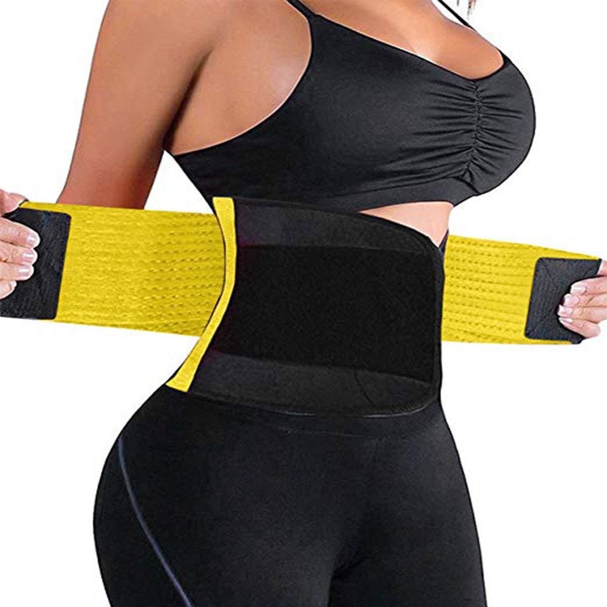 8ef893ae738 Galleon - Waist Trimmer Belt Back Support Adjustable Abdominal Elastic Waist  Trainer Hourglass Body Shaper Girdle Belt (Yellow