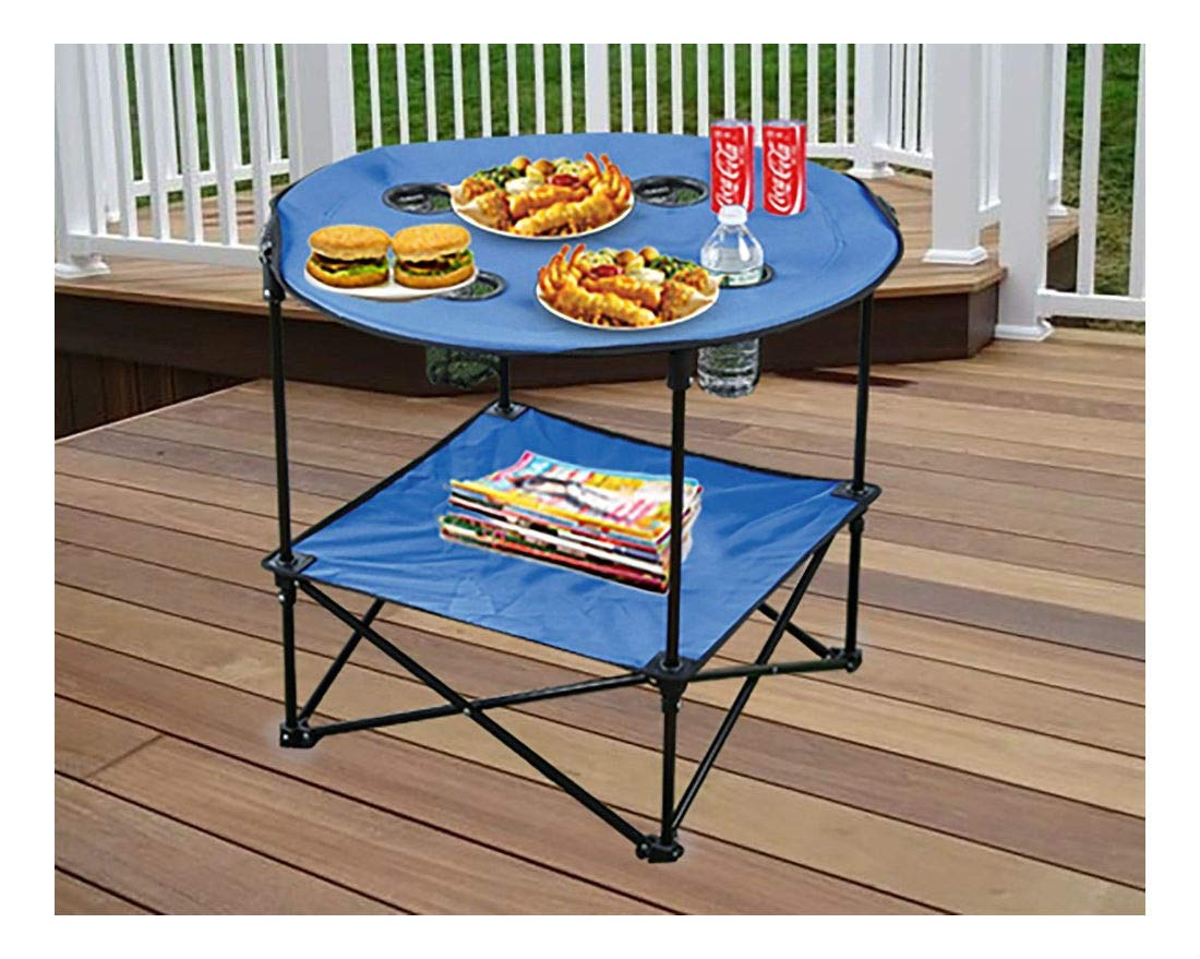 Blue Portable Camping Side Table Folding Picnic Table Outdoor Travel Patio Case BBQ