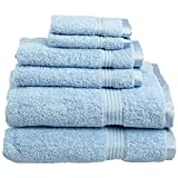 Superior Luxurious Soft Hotel & Spa Quality 6-Piece Towel Set, Made of 100% Premium Long-Staple Combed Cotton - 2 Washcloths, 2 Hand Towels, and 2 Bath Towels, Light Blue