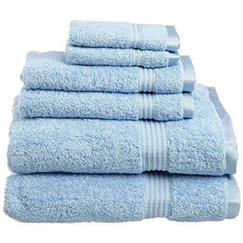 Superior Luxurious Soft Hotel & Spa Quality 6-Piece Towel Set, Made of 100% Premium Long-Staple Combed Cotton – 2 Washcloths, 2 Hand Towels, and 2 Bath Towels, Light Blue