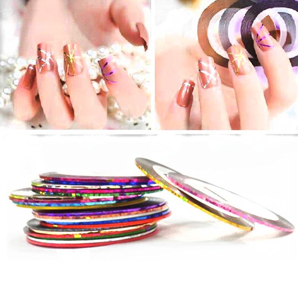 Demarkt 30pcs pegatinas de uñas Nail Tools Uñas Rueda Rayas: Amazon.es: Belleza