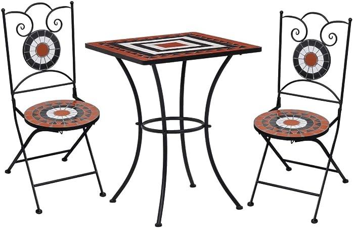 Set arredo giardino mosaico tavolo e sedie in ferro con terracotta ceramica