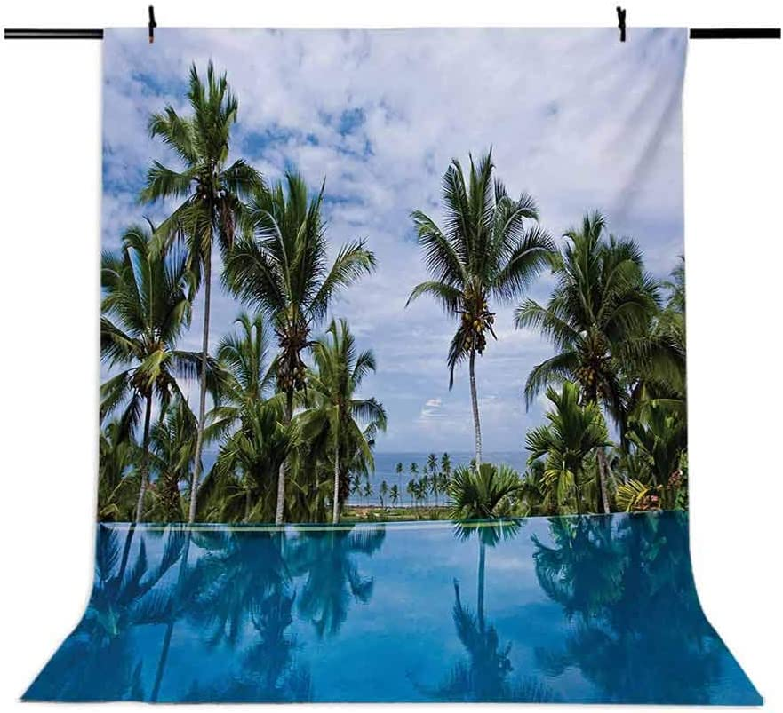 Landscape 6.5x10 FT Photo Backdrops,Infinity Pool with Palms Reflections and Crystal Water Tropic Resort Photo Background for Baby Shower Birthday Wedding Bridal Shower Party Decoration Photo Studio