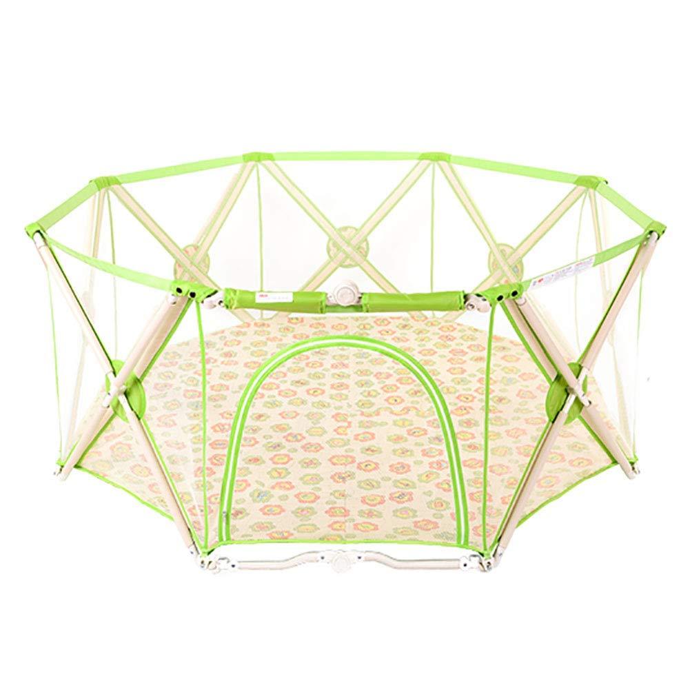 FMEZYベビーベビーサークル屋内幼児安全に家庭用遊び場子供アンチフォールスゲームフェンス子供安全ベビーサークルフェンス(色:緑色)  Green B07TXCVDTC