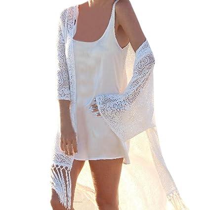 ❤️ Amlaiworld Cárdigan Kimono Chal de Mujer Cubierta de Playa Chaqueta de Playa Trajes de baño Cubrir Bikini Cover up Chales Cardigans Largos de Borla ...