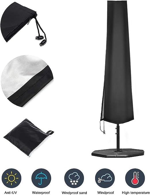 OKPOW - Funda para sombrilla de jardín 420D de Tela Oxford Impermeable con Cremallera (190 x 30 x 50 cm), para Paraguas de jardín o Exterior de 9 pies a 11 pies: Amazon.es: Jardín