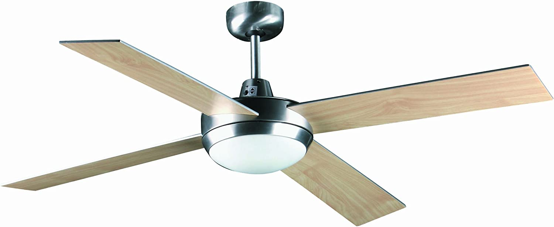 Ventilador de techo con luz MENORCA FARO 33290- 4 palas de madera ...