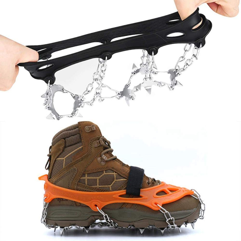 Anti Slip Stainless Steel Ice Snow Grips Crampons for Men Women Auoker Crampons Shoes Boots for Walking Jogging Hiking Trekking and Mountaineering 19 Spikes Ice Traction Cleats