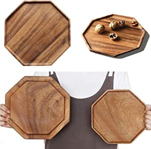 Set of 2 Acacia Wooden Serving Tray Vegetable Fruit Platter Wood Square Dessert Plates Food Dish Decorative Party Trays