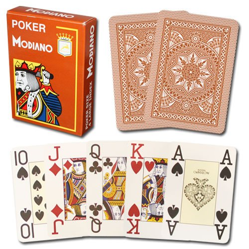 Modiano Cristallo 100% Plastic 4-Pip Jumbo Index Playing Cards (Brown)