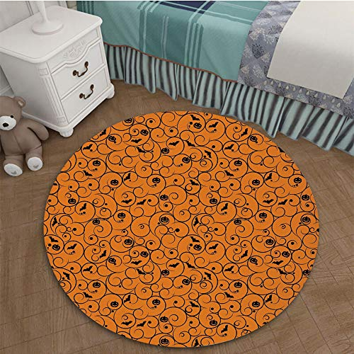 Christmas Home Decor Circle Area Rug Happy Holiday Round Area Rug Carpet 2.95 Ft Diameter Halloween,Floral Swirls with Dots Little Bats Open Wings and Pumpkins Seasonal Pattern,Orange -