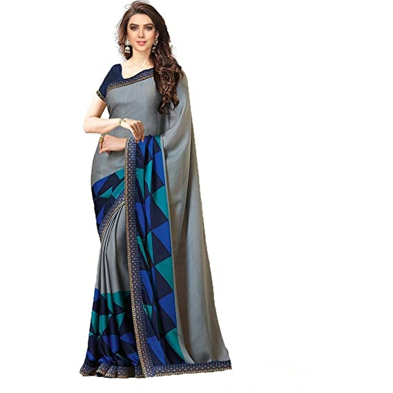 0482c5d6ad TRYme Fashion Women's Chanderi Cotton Embroidered Saree with Banglori Silk  Unstitched Blouse(New Collection Sari