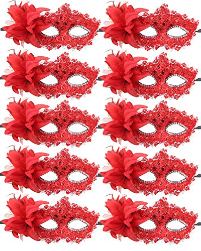 10pcs Set Mardi Gras Half Masquerades Venetian Masks Costumes Party Accessory (red)]()