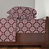 Roostery Cards 4pc Sheet Set A Suit Of Flowers (Black) by Robyriker Queen Sheet Set made with
