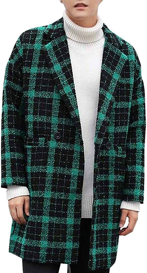 Miracle Mens Vintage Check Print Notched Collar Wool Blend Midi Pea Coats
