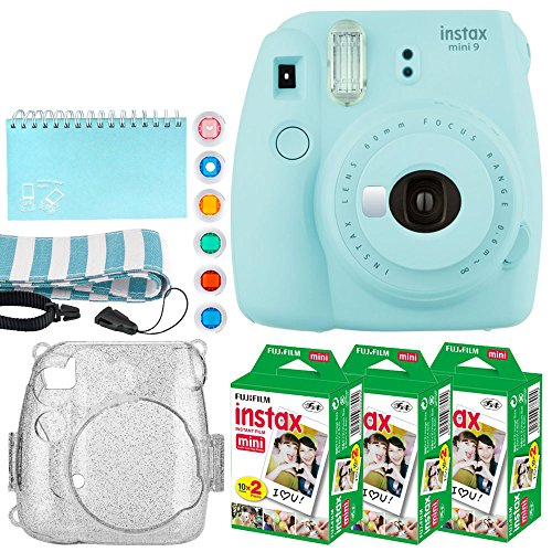 Fujifilm Instax Mini 9 Instant Camera (Ice Blue) + Fujifilm Instax Mini Twin Pack Instant Film (60 Exposures) + Glitter Hard Case + Scrapbook Album + 6 Colored Lens Filters + Neck Strap – Full Bundle