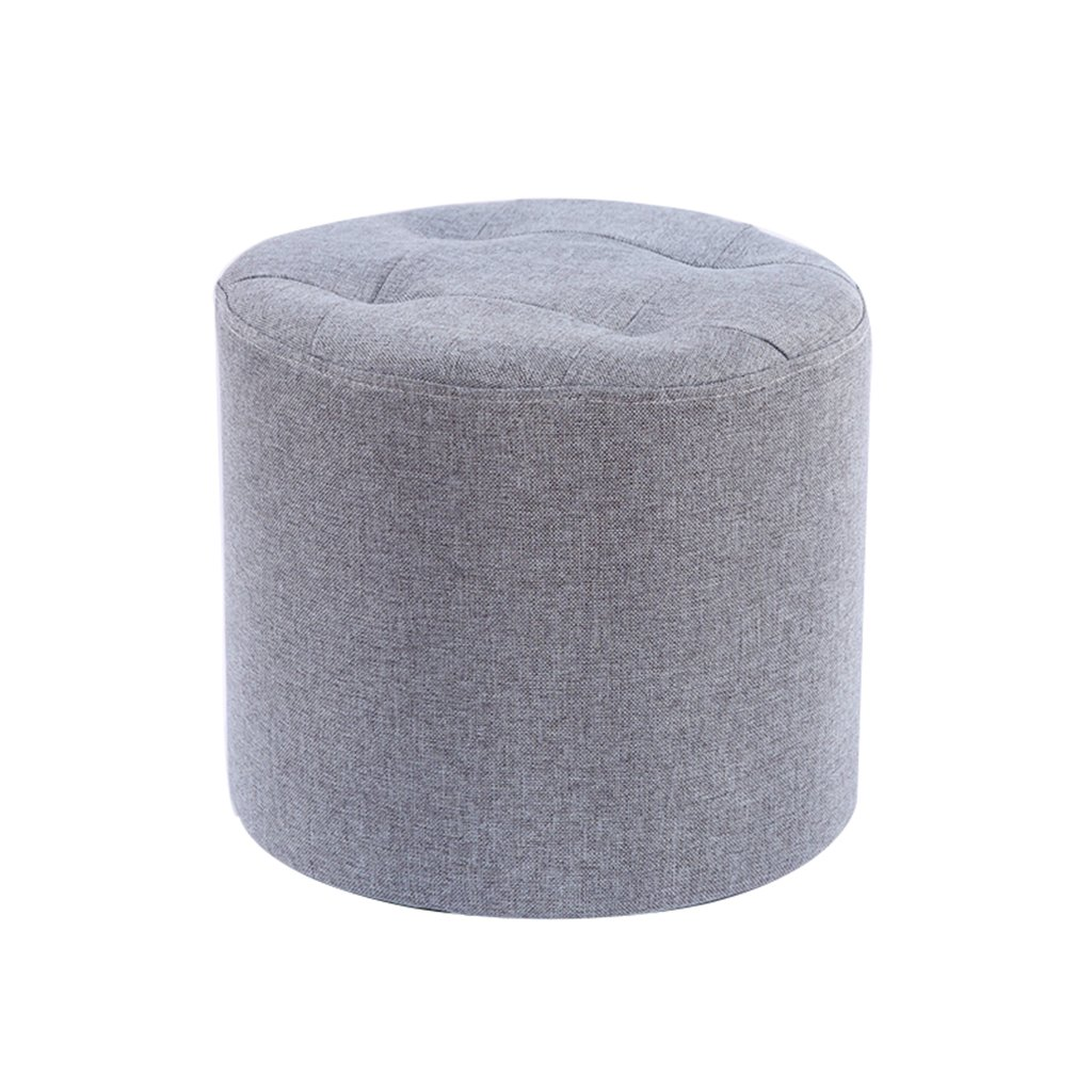 LIU RUOXI Round Ottoman Stool,Large Footrest Stool,Cotton And Linen Footstool, Vanity Stool,12.213.8'',Gray,3128Cm
