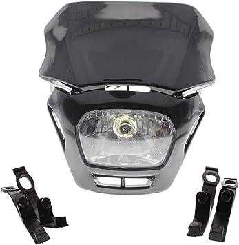 Black Motorcycle Dirt Bike Headlight Streetfighter Head Lamp For Suzuki Honda