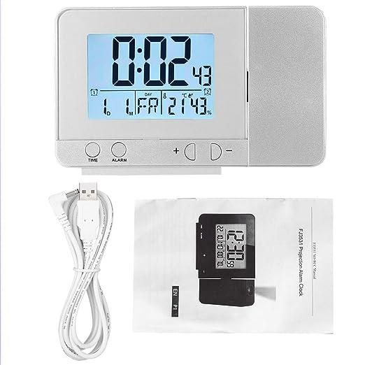 Asixx Despertador Proyector, Reloj Proyector, con Cable USB, Proyector Giratorio De 180°, Mouestra La Hora, Fecha, Temperatura Y Humedad
