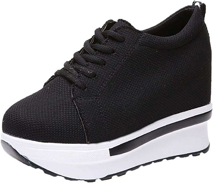 Xinantime Zapatillas de Cuña para Mujer Lona Plataforma Gruesa con Cordones Cuñas Zapatillas de Deporte Zapatos de Trabajo Zapatos de Mujer Moda Casual: Amazon.es: Ropa y accesorios