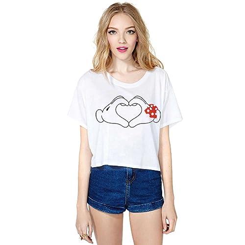 YiLianDa Donna T-shirt Maglietta della Stampa ritagliata parti superiori Manica Corta T-shirt Estate...
