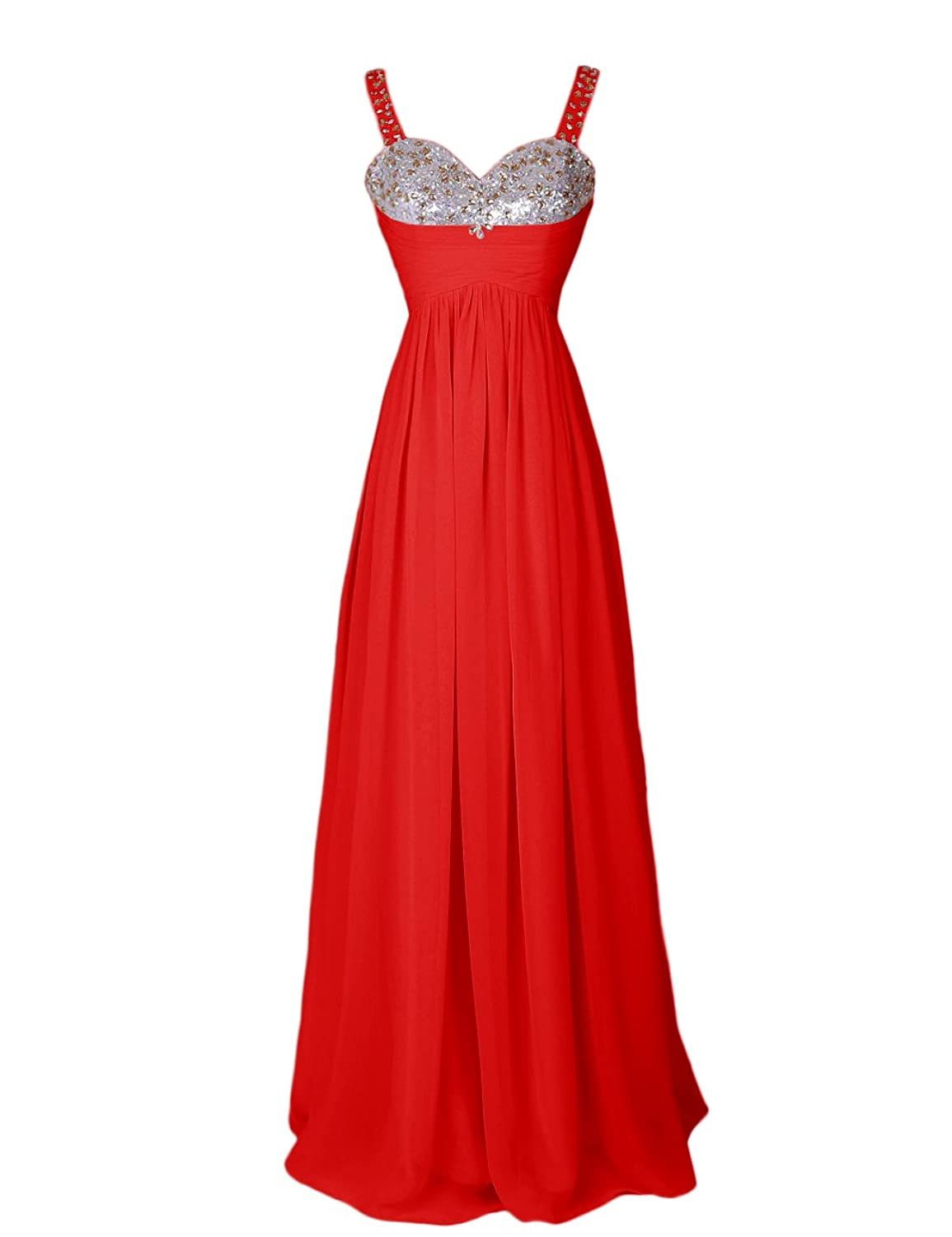 Dressystar Beaded Sweetheart Straps Chiffon Prom Cocktail Dress Floor Length