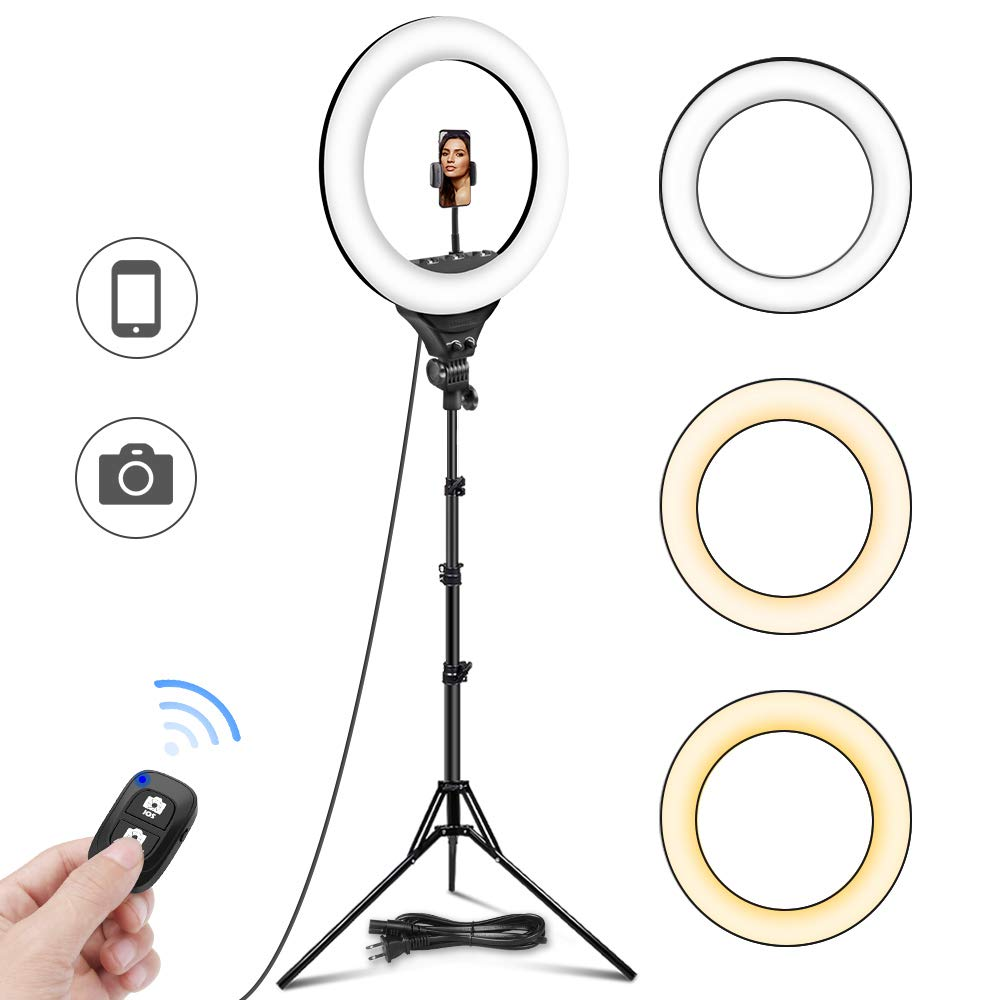 UBeesize 18''/48cm Ring Light, 3000K-6000K Dimmable LED Bi-Color Ring Light with Stand and Phone Holder, for Camera and Smartphone, Perfect Diva Light for Makeup, Photography, YouTube, Vlogging by UBeesize