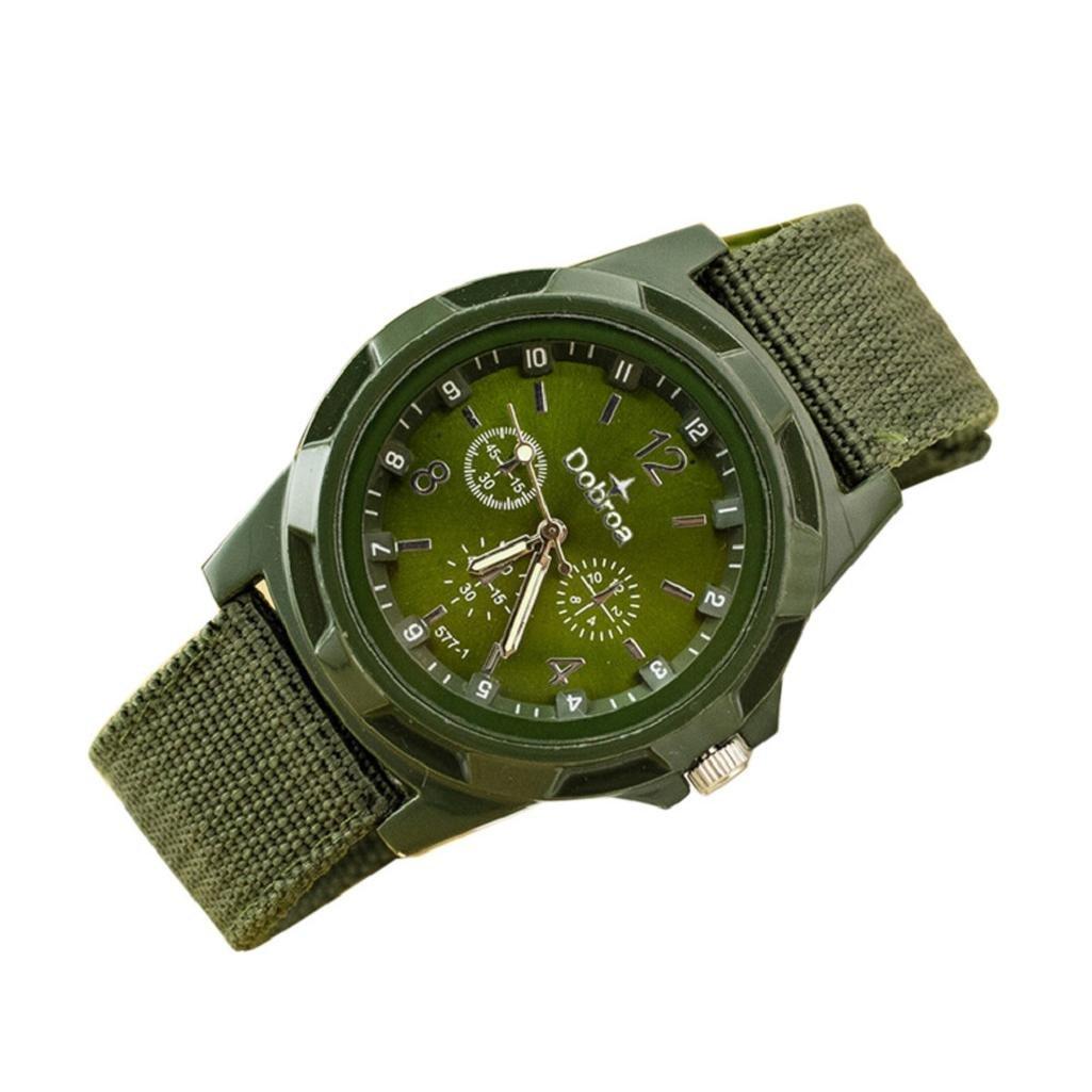 Mens Quartz Watch,Hosamtel Men's Fashion Sport Braided Canvas Belt Watch Analog Wrist Watch (Green)