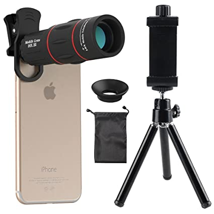 Cell Phone Camera Lens Godefa 18x Zoom Telephoto Universal Clip On Lens Kit Compatible Iphone 8 7 6s 6 Plus 5 4 Samsung Android Other Phones