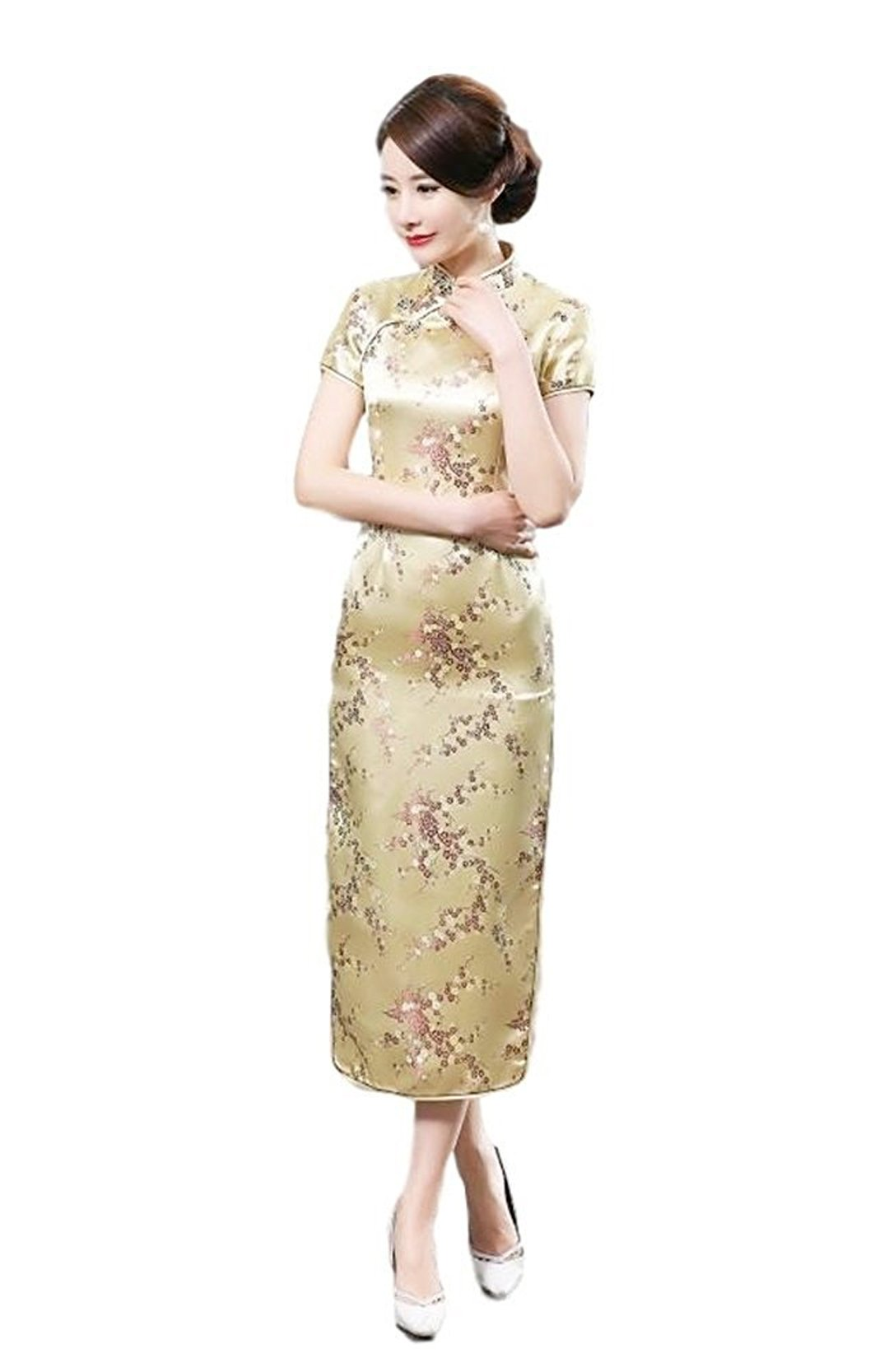 Maritchi Women's Long Chinese Wedding Dress Cheongsam Qipao Retro Long Flower Printing Elegance Beauty (8(ChineseXL), Golden)