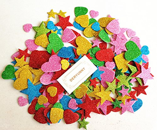 Foam Glitter Stickers Self Adhesive, Mini Heart and Stars Shapes for Kid's Arts Craft Supplies Greeting Cards Home Decoration (150 Pieces)