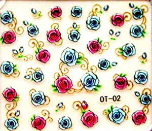 Egood 3D Self Adhesive Nail Art Decal Sticker (Outstanding Vivid Hot Roses Red and Blue with Golden Colored Sprays) Bundled with One packaged Nail Art Decal Sticker bonus