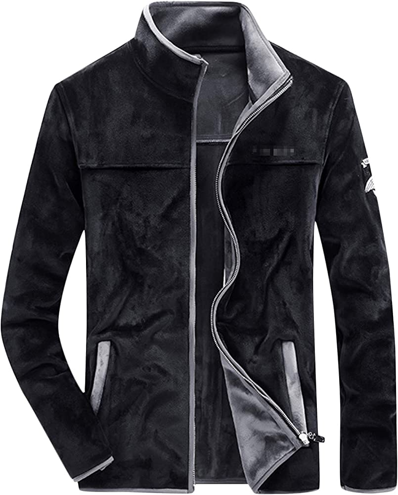 Springrain Mens Warm Front Zip-UP PU Leather Jacket Outerwear with Fleece Lining