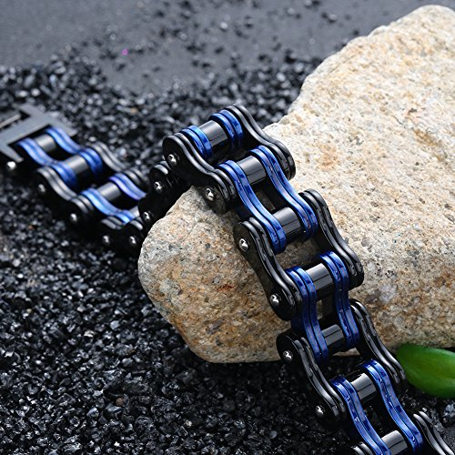 Steel Motorcycle Bangle black Wristband Chain Bracelet 8 Inch Blue Men Bicycle Bike 5 Stainless Link 8wxBy6q5z