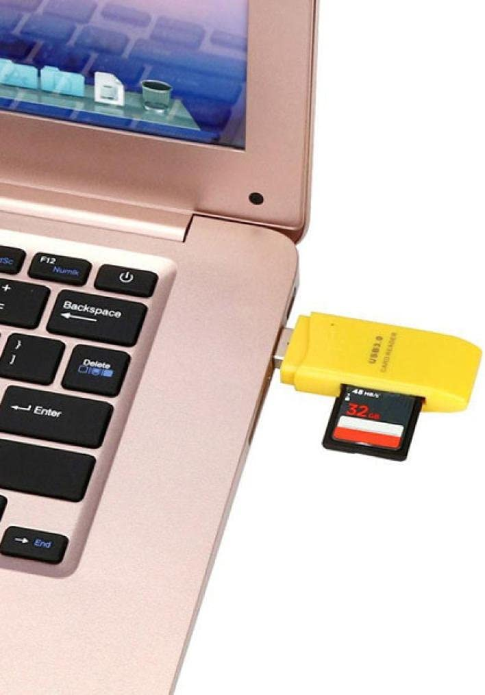 Mini USB 3.0 Micro SD//SDXC TF Card Reader 5Gbps Super Speed Adapter by TOPUNDER Yellow