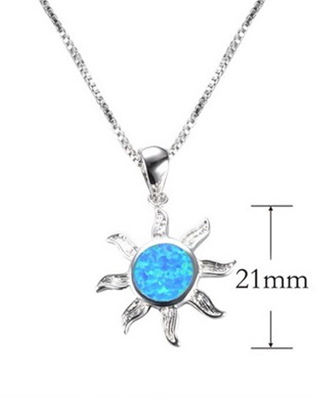 Fortonatori Created Blue Opal Necklace Heart Elegant 925 Silver Pendant Necklace 18 Chain
