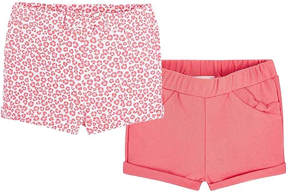Mayoral Baby Girls Cute 2 Pack of Coral and Animal Print Shorts