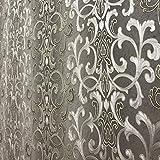 QUADRUPLE ROLL 113.52sq.ft (4 single rolls size) Slavyanski washable Victorian pattern Vinyl Non-Woven Wallpaper wallcovering gray silver gold textured stripe wall damask glitters metallic 3D living