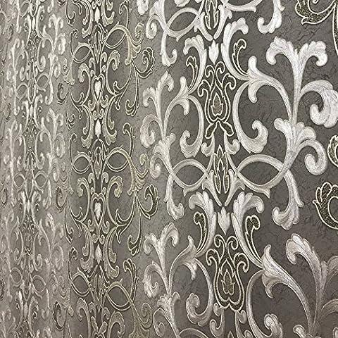 QUADRUPLE ROLL 113.52sq.ft (4 single rolls size) Slavyanski washable Victorian pattern Vinyl Non-Woven Wallpaper wallcovering gray silver gold textured stripe wall damask glitters metallic 3D (Washable Wallpaper)