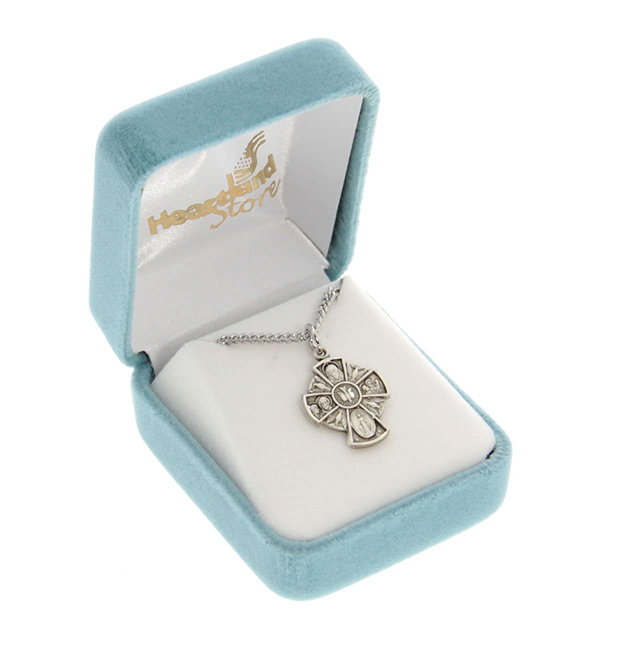 Heartland Womens Sterling Silver Holy Spirit 4-Way Cross Necklace Chain Choice Best Quality USA Made