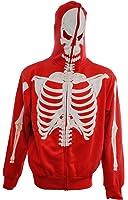 Full-Zip Up Glow in the Dark Red Skeleton Sweatshirt Hoodie Costume