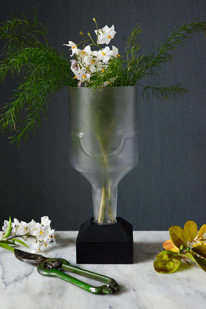 Glass vase handmade from an upcycled Russian Standard Vodka bottle with a reclaimed pine wooden base