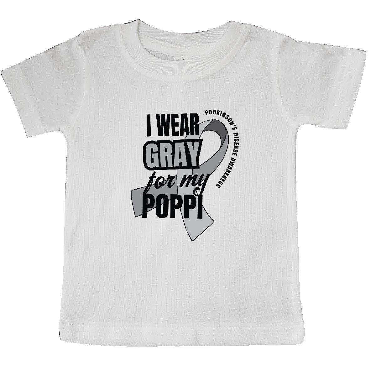 inktastic I Wear Gray for My Poppi Parkinsons Disease Awareness Baby T-Shirt