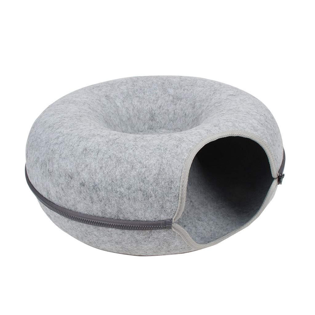 Grey KYCD pet bed Felt Tunnel Cat Litter Cat Toys Foldable Washable Four Seasons Usable Zipper Design Cat Supplies, 50x20cm (color   Grey)