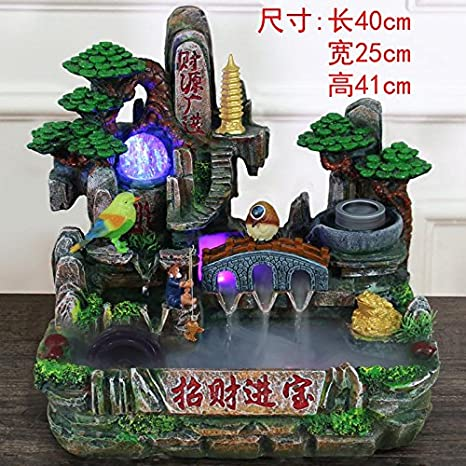 Feng Shui suerte ronda adornos rocalla fuente de agua sala Oficina decoracion acuario bonsái la apertura de regalo de bienvenida,893 apto nebulizador: ...